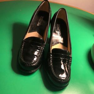 Michael Kors Black Patent Heeled Penny Loafers 8